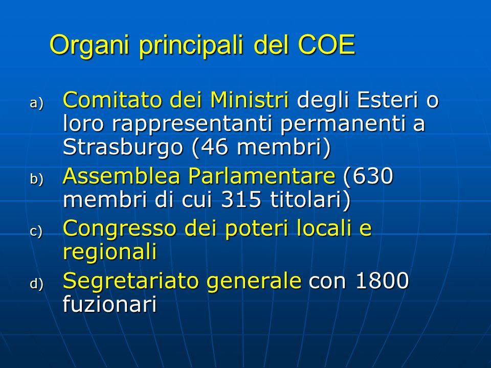 Organi principali del COE a) Comitato dei Ministri degli Esteri o loro rappresentanti permanenti a Strasburgo (46 membri) b) Assemblea Parlamentare (6