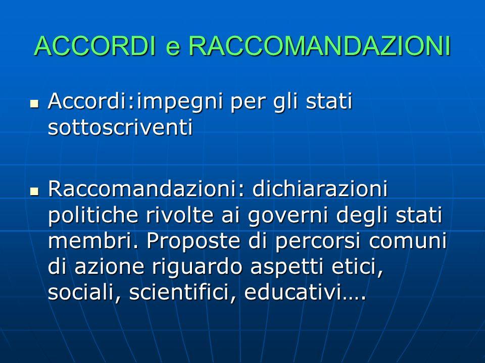 ACCORDI e RACCOMANDAZIONI Accordi:impegni per gli stati sottoscriventi Accordi:impegni per gli stati sottoscriventi Raccomandazioni: dichiarazioni pol
