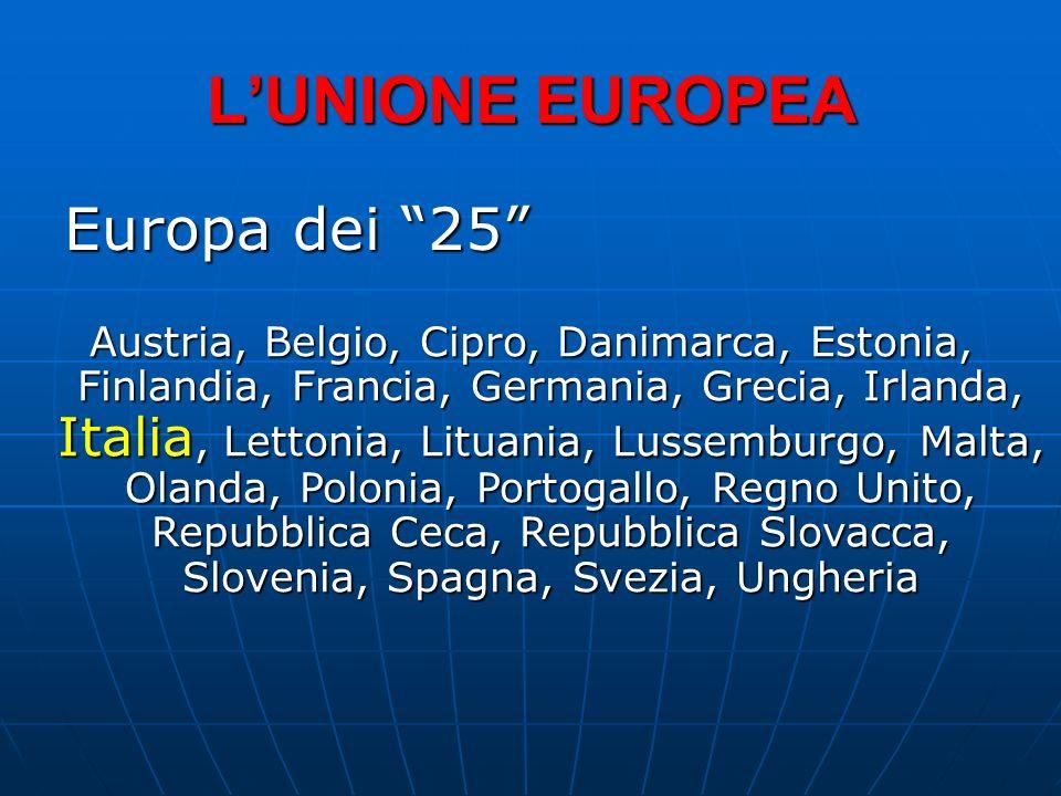 LUNIONE EUROPEA Europa dei 25 Austria, Belgio, Cipro, Danimarca, Estonia, Finlandia, Francia, Germania, Grecia, Irlanda, Italia, Lettonia, Lituania, L