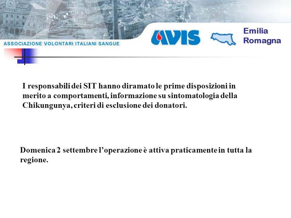 Emilia Romagna Domenica 2 settembre loperazione è attiva praticamente in tutta la regione. I responsabili dei SIT hanno diramato le prime disposizioni