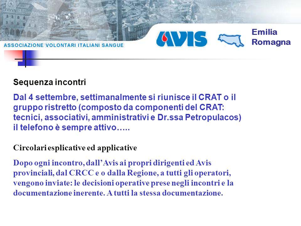 Emilia Romagna Sequenza incontri Dal 4 settembre, settimanalmente si riunisce il CRAT o il gruppo ristretto (composto da componenti del CRAT: tecnici,