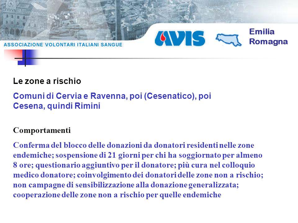Emilia Romagna Le zone a rischio Comuni di Cervia e Ravenna, poi (Cesenatico), poi Cesena, quindi Rimini Comportamenti Conferma del blocco delle donaz