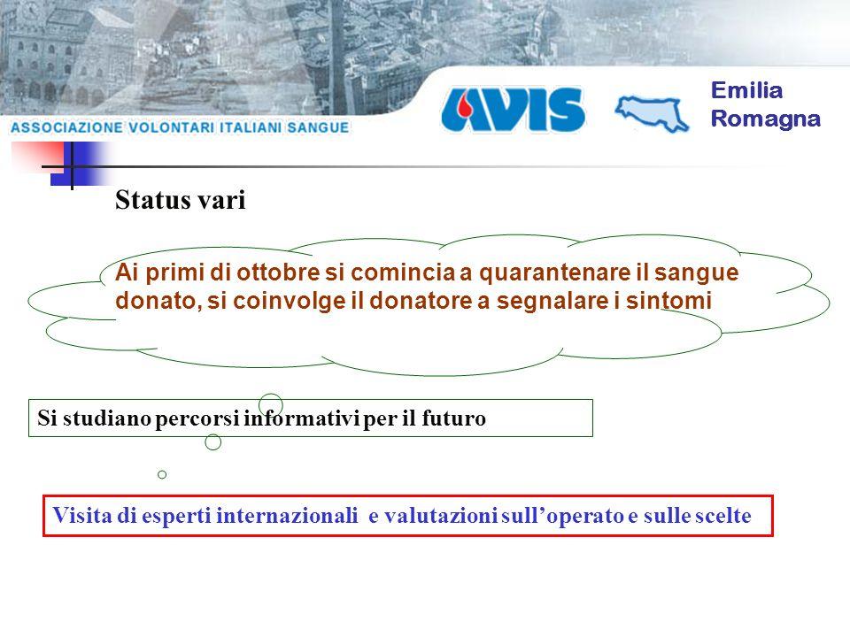 Emilia Romagna Ai primi di ottobre si comincia a quarantenare il sangue donato, si coinvolge il donatore a segnalare i sintomi Status vari Si studiano percorsi informativi per il futuro Visita di esperti internazionali e valutazioni sulloperato e sulle scelte