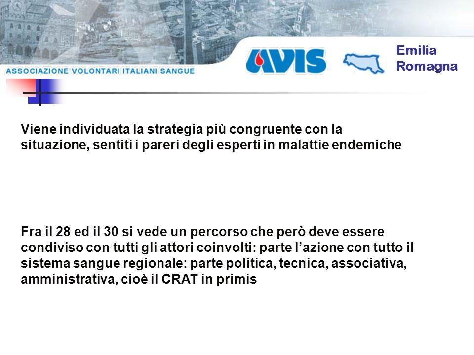 Emilia Romagna Viene individuata la strategia più congruente con la situazione, sentiti i pareri degli esperti in malattie endemiche Fra il 28 ed il 3