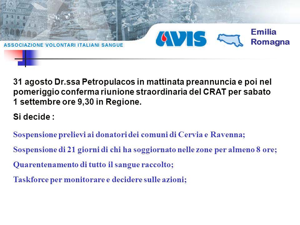 Emilia Romagna 31 agosto Dr.ssa Petropulacos in mattinata preannuncia e poi nel pomeriggio conferma riunione straordinaria del CRAT per sabato 1 sette