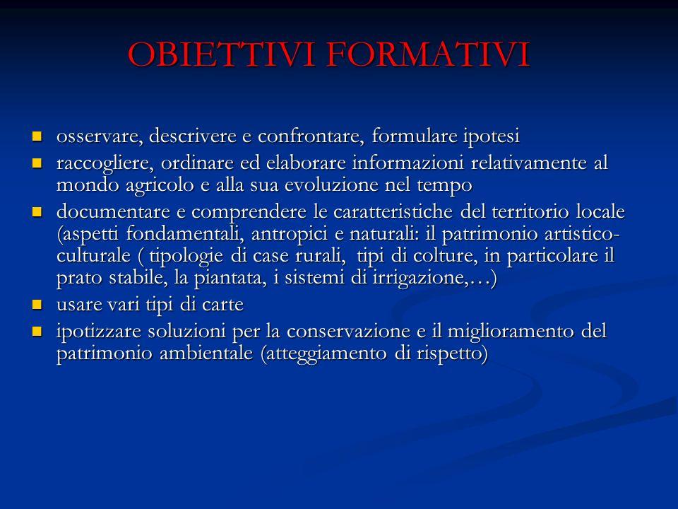OBIETTIVI FORMATIVI osservare, descrivere e confrontare, formulare ipotesi osservare, descrivere e confrontare, formulare ipotesi raccogliere, ordinar