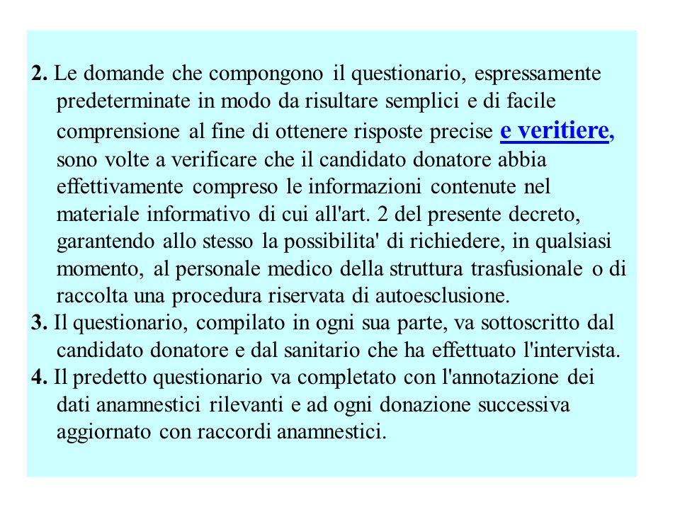 2. Le domande che compongono il questionario, espressamente predeterminate in modo da risultare semplici e di facile comprensione al fine di ottenere