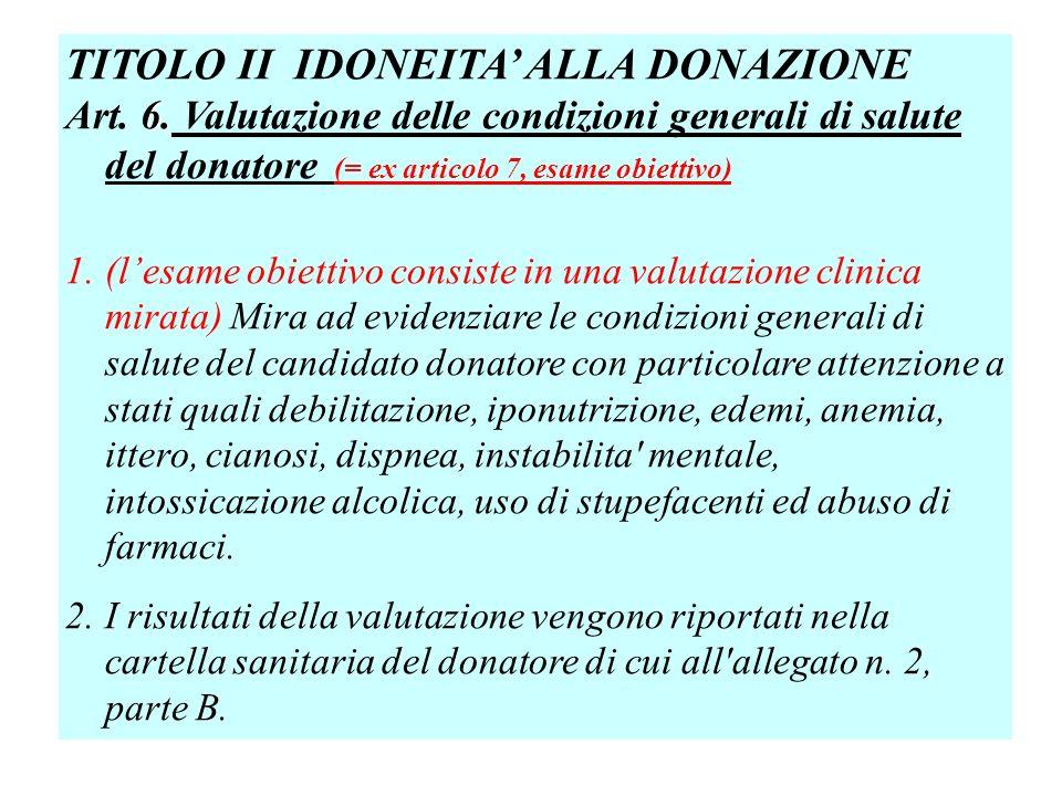 TITOLO II IDONEITA ALLA DONAZIONE 6.Art. 6.