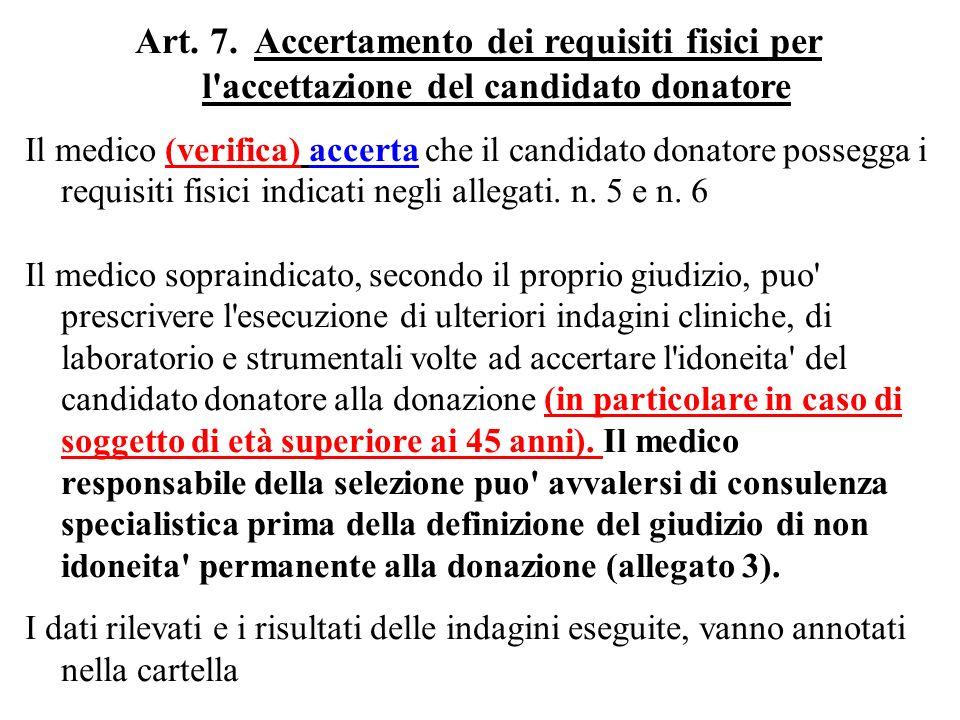 TITOLO II IDONEITA ALLA DONAZIONE Art.7.