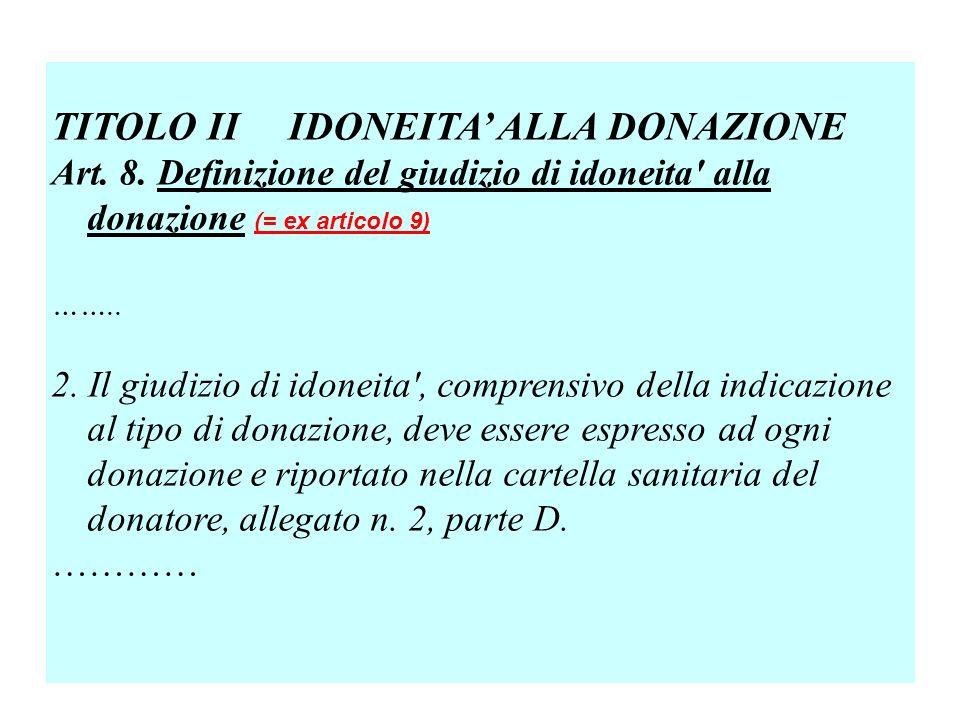 TITOLO II IDONEITA ALLA DONAZIONE Art.8.