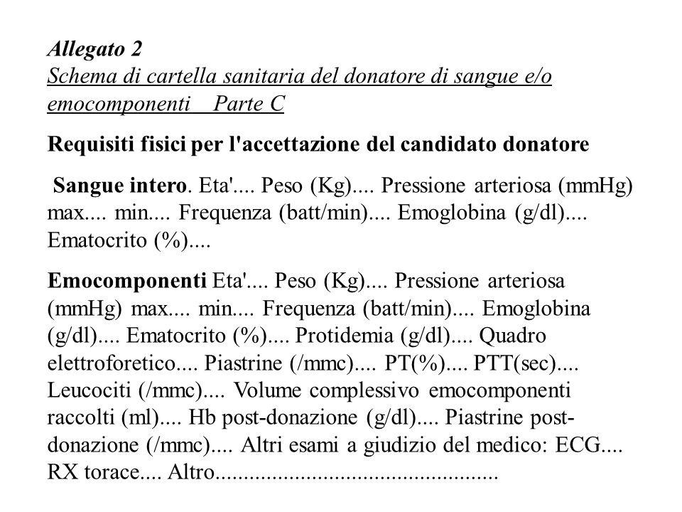 Allegato 2 Schema di cartella sanitaria del donatore di sangue e/o emocomponenti Parte C Requisiti fisici per l accettazione del candidato donatore Sangue intero.
