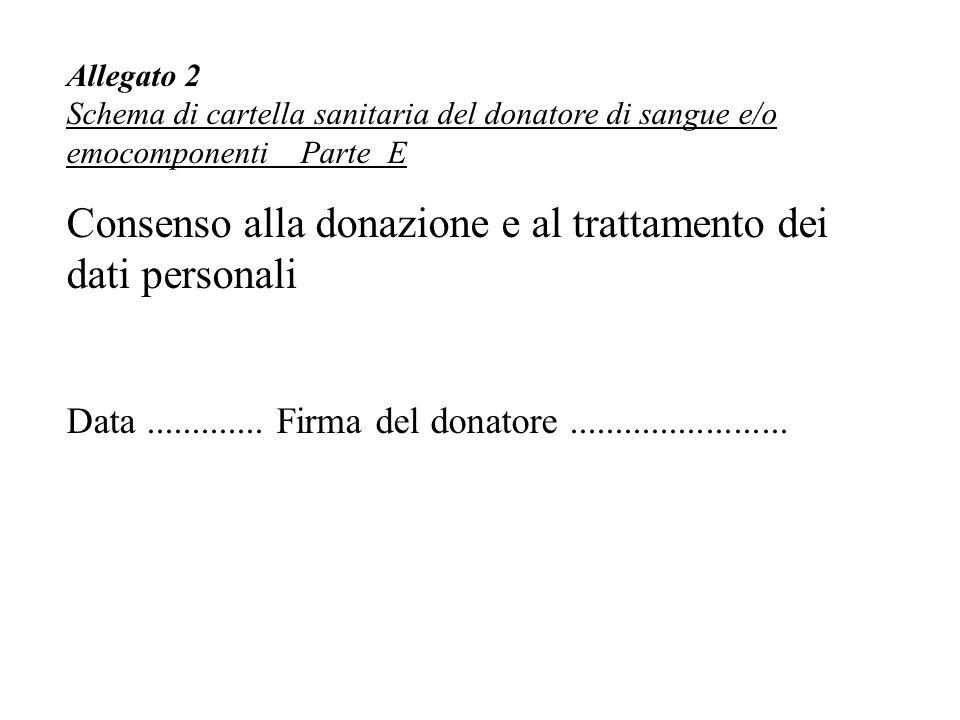 Allegato 2 Schema di cartella sanitaria del donatore di sangue e/o emocomponenti Parte E Consenso alla donazione e al trattamento dei dati personali Data.............