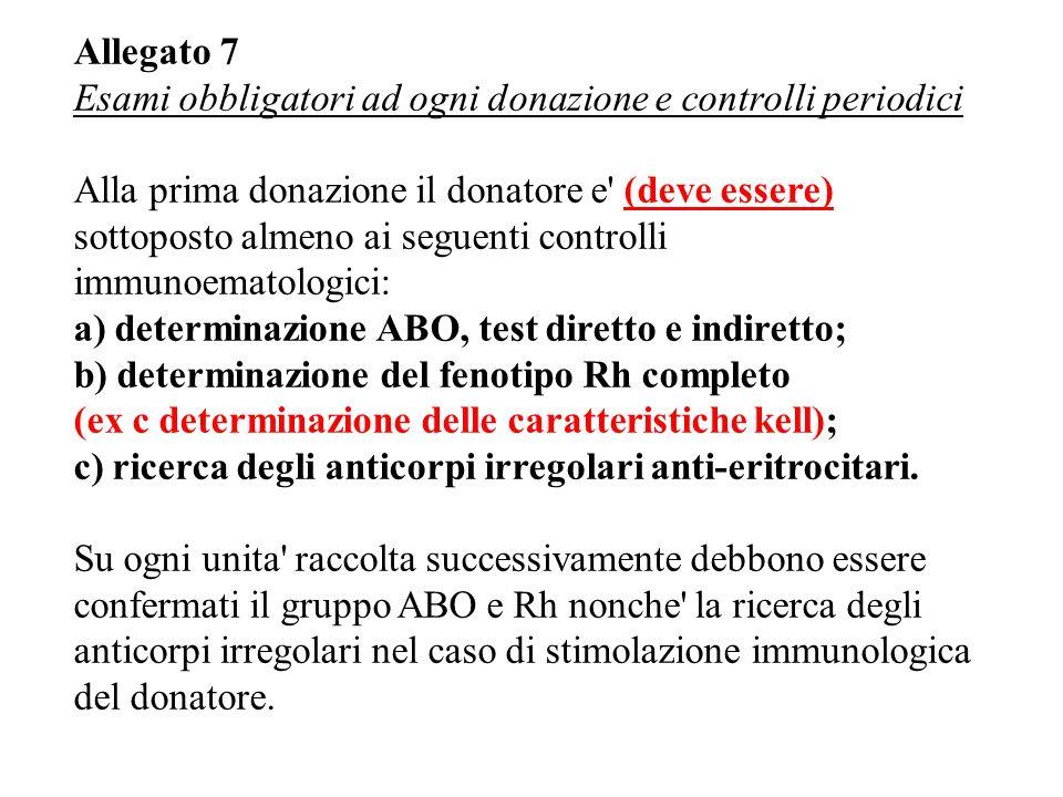 Allegato 7 Esami obbligatori ad ogni donazione e controlli periodici Alla prima donazione il donatore e (deve essere) sottoposto almeno ai seguenti controlli immunoematologici: a) determinazione ABO, test diretto e indiretto; b) determinazione del fenotipo Rh completo (ex c determinazione delle caratteristiche kell); c) ricerca degli anticorpi irregolari anti-eritrocitari.
