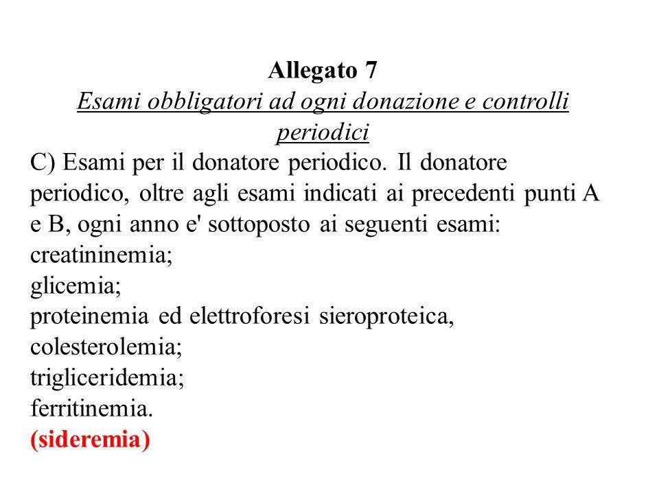 Allegato 7 Esami obbligatori ad ogni donazione e controlli periodici C) Esami per il donatore periodico.