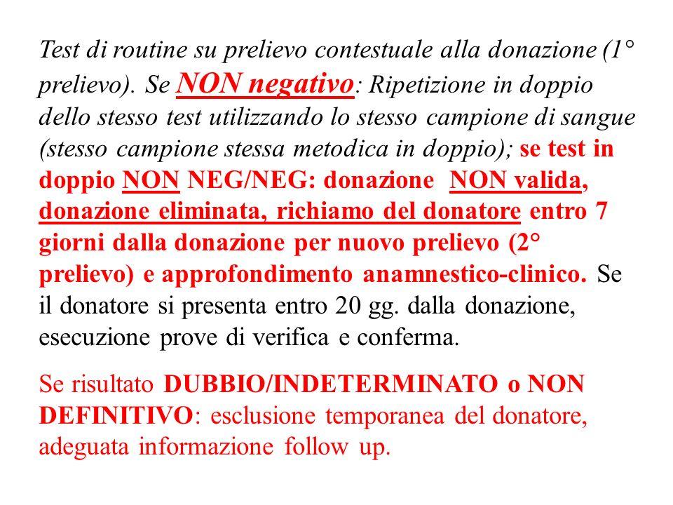 Test di routine su prelievo contestuale alla donazione (1° prelievo).