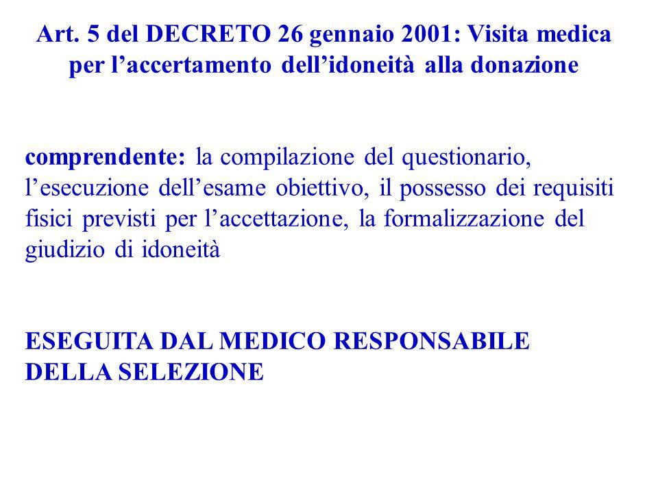 Art. 5 del DECRETO 26 gennaio 2001: Visita medica per laccertamento dellidoneità alla donazione comprendente: la compilazione del questionario, lesecu
