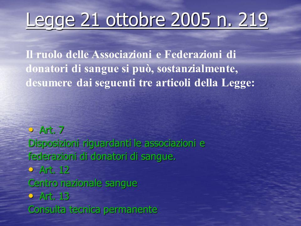 Art.Art. 7 Disposizioni riguardanti le associazioni e federazioni di donatori di sangue.