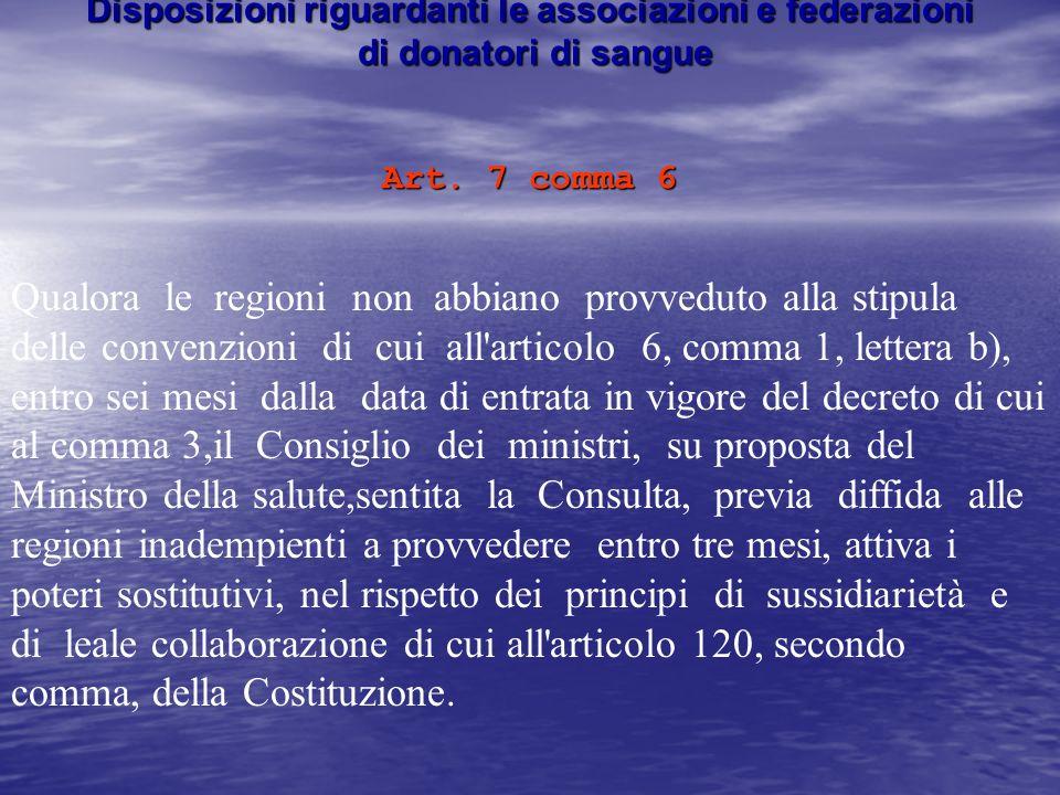 Disposizioni riguardanti le associazioni e federazioni di donatori di sangue Art.