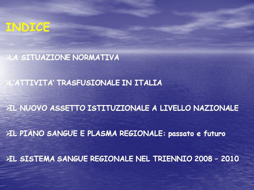 INDICE LA SITUAZIONE NORMATIVA LATTIVITA TRASFUSIONALE IN ITALIA IL NUOVO ASSETTO ISTITUZIONALE A LIVELLO NAZIONALE IL PIANO SANGUE E PLASMA REGIONALE: passato e futuro IL SISTEMA SANGUE REGIONALE NEL TRIENNIO 2008 – 2010