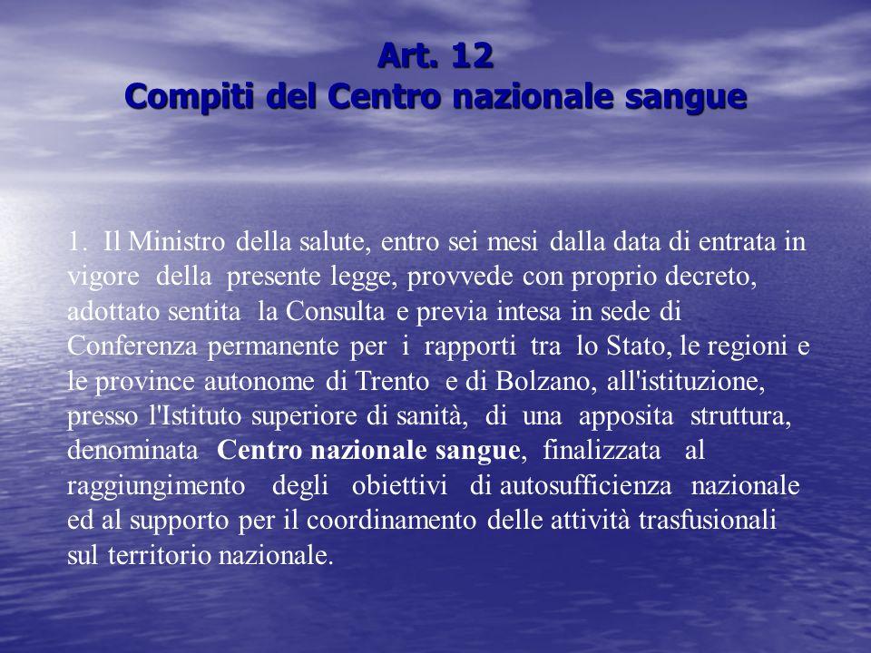 Art.12 Compiti del Centro nazionale sangue 1.