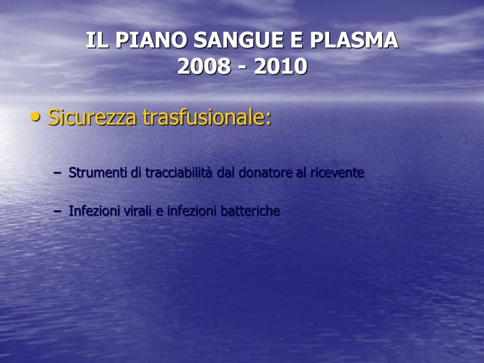 IL PIANO SANGUE E PLASMA 2008 - 2010 Sicurezza trasfusionale: Sicurezza trasfusionale: –Strumenti di tracciabilità dal donatore al ricevente –Infezioni virali e infezioni batteriche