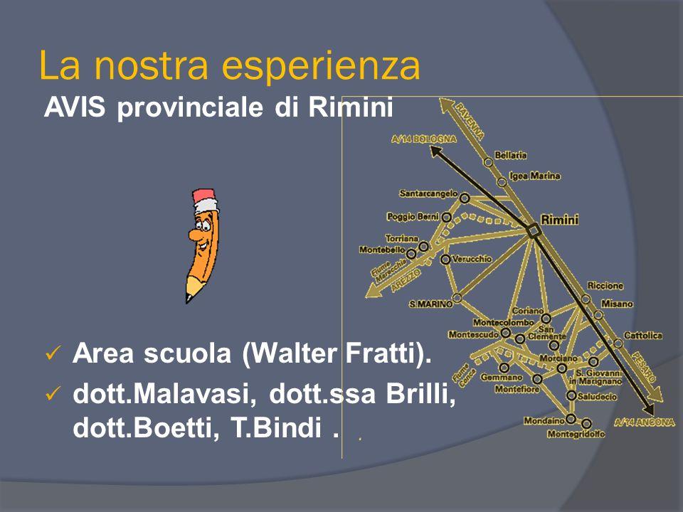 La nostra esperienza AVIS provinciale di Rimini Area scuola (Walter Fratti). dott.Malavasi, dott.ssa Brilli, dott.Boetti, T.Bindi.