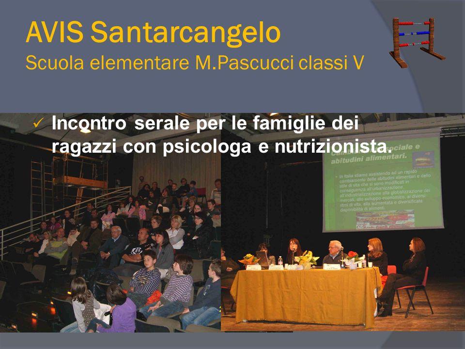 AVIS Santarcangelo Scuola elementare M.Pascucci classi V Incontro serale per le famiglie dei ragazzi con psicologa e nutrizionista.
