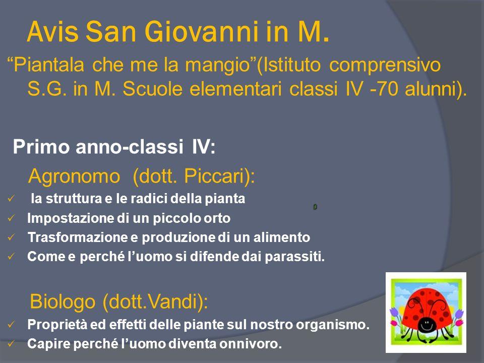 Avis San Giovanni in M. Piantala che me la mangio(Istituto comprensivo S.G. in M. Scuole elementari classi IV -70 alunni). Primo anno-classi IV: Agron