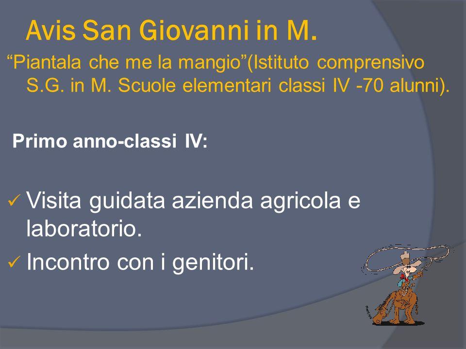 Avis San Giovanni in M. Piantala che me la mangio(Istituto comprensivo S.G. in M. Scuole elementari classi IV -70 alunni). Primo anno-classi IV: Visit
