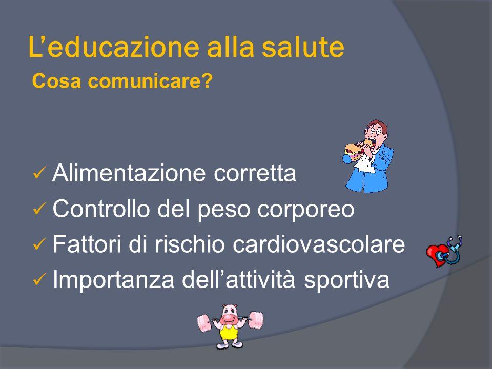 Leducazione alla salute Cosa comunicare? Alimentazione corretta Controllo del peso corporeo Fattori di rischio cardiovascolare Importanza dellattività