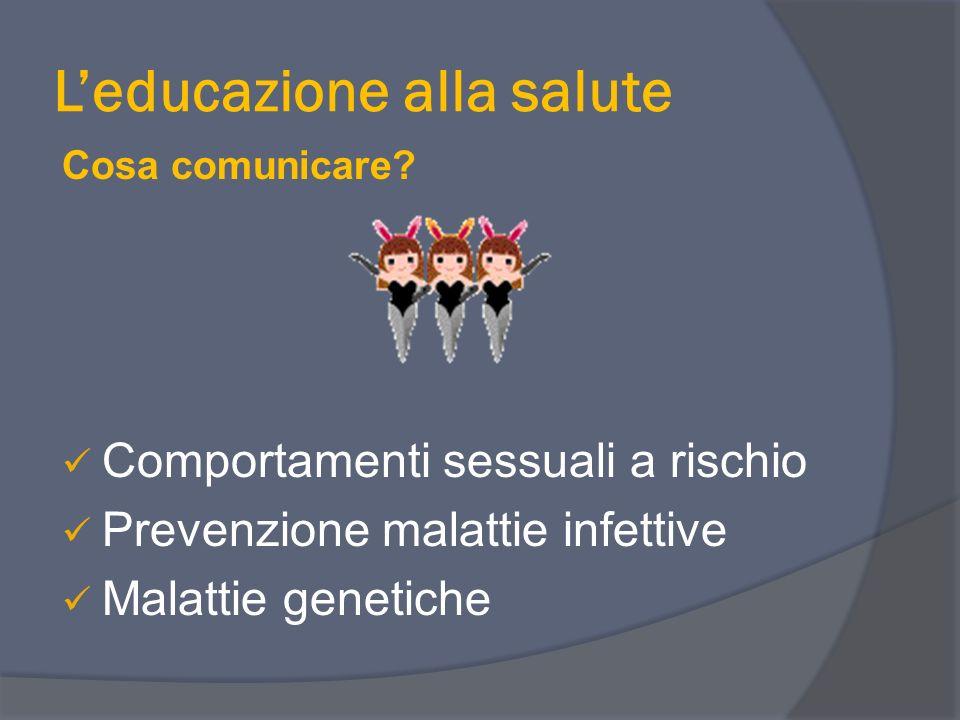 Leducazione alla salute Cosa comunicare? Comportamenti sessuali a rischio Prevenzione malattie infettive Malattie genetiche