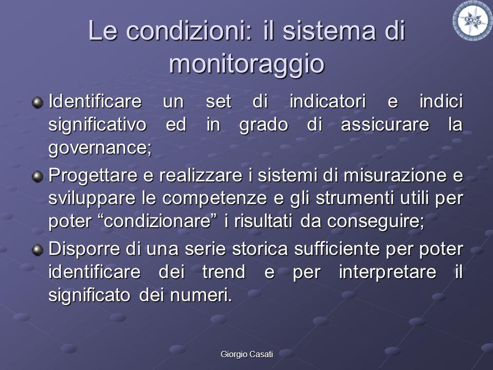 Giorgio Casati Le condizioni: il sistema di monitoraggio Identificare un set di indicatori e indici significativo ed in grado di assicurare la governa