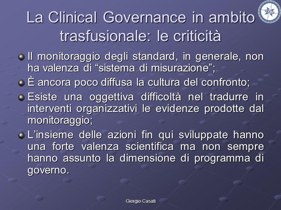 Giorgio Casati La Clinical Governance in ambito trasfusionale: le criticità Il monitoraggio degli standard, in generale, non ha valenza di sistema di