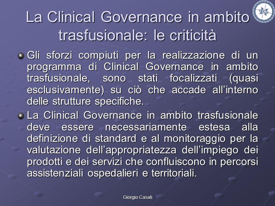 Giorgio Casati La Clinical Governance in ambito trasfusionale: le criticità Gli sforzi compiuti per la realizzazione di un programma di Clinical Gover