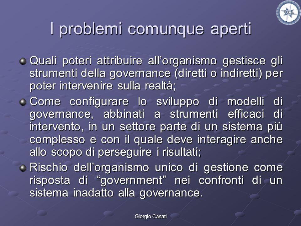 Giorgio Casati I problemi comunque aperti Quali poteri attribuire allorganismo gestisce gli strumenti della governance (diretti o indiretti) per poter