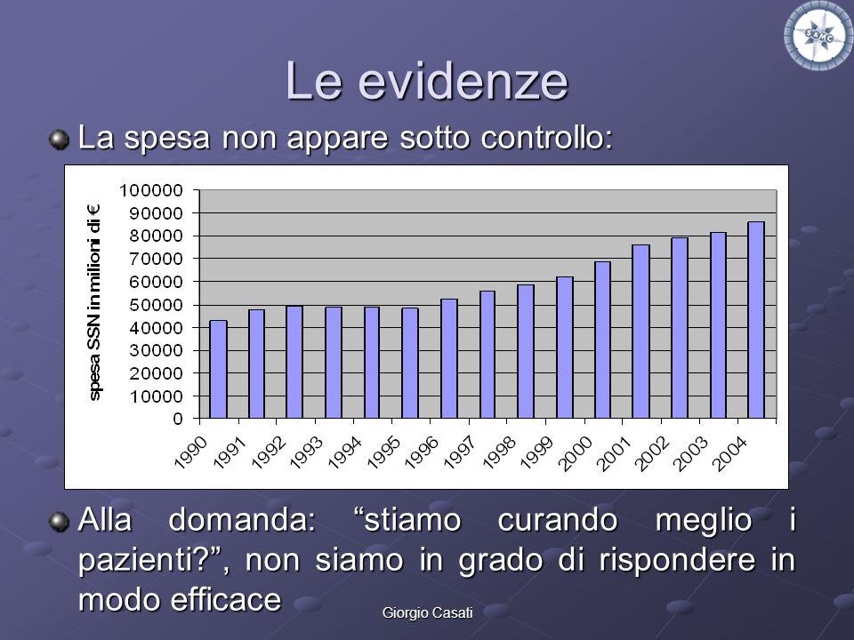 Giorgio Casati Le evidenze La spesa non appare sotto controllo: Alla domanda: stiamo curando meglio i pazienti?, non siamo in grado di rispondere in m