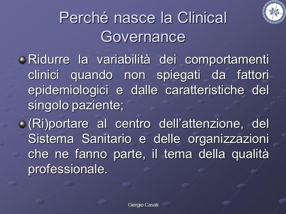 Giorgio Casati Perché nasce la Clinical Governance Ridurre la variabilità dei comportamenti clinici quando non spiegati da fattori epidemiologici e da