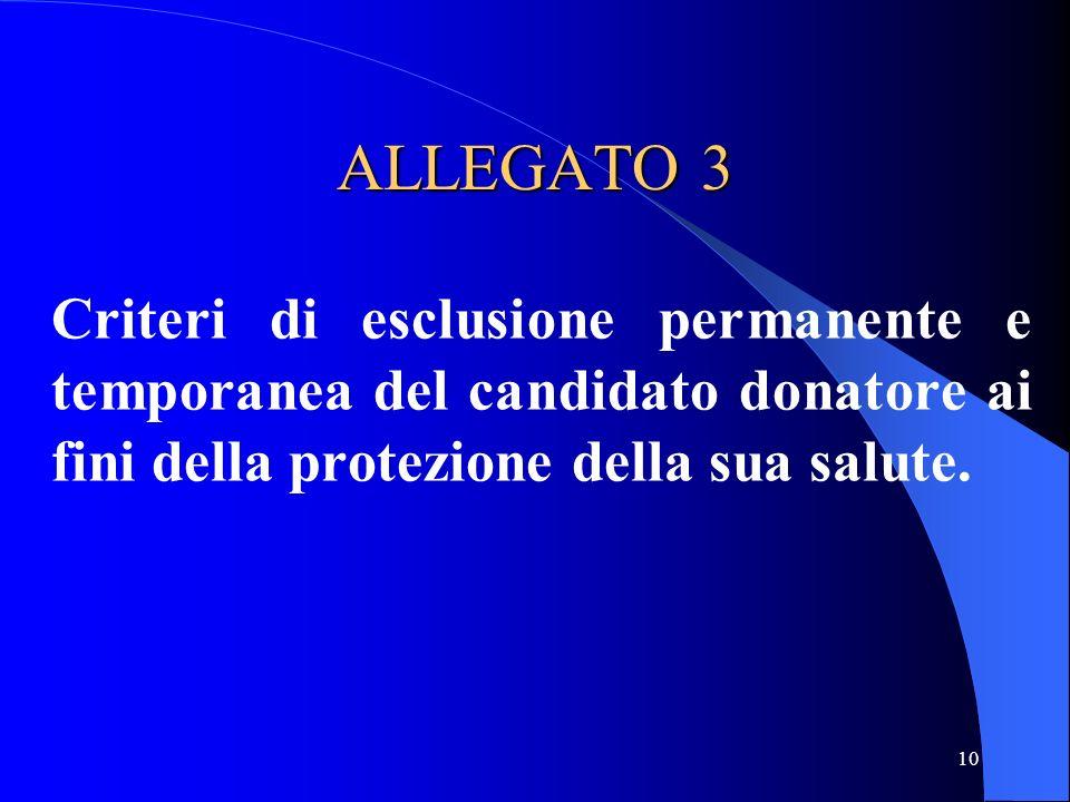 10 ALLEGATO 3 Criteri di esclusione permanente e temporanea del candidato donatore ai fini della protezione della sua salute.