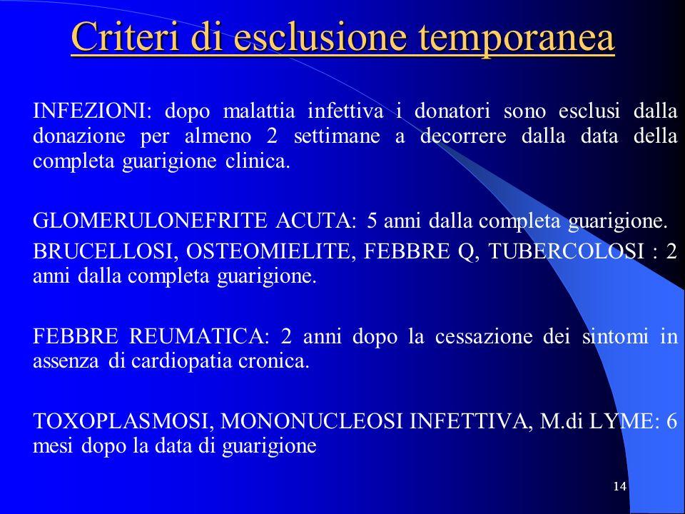 14 Criteri di esclusione temporanea INFEZIONI: dopo malattia infettiva i donatori sono esclusi dalla donazione per almeno 2 settimane a decorrere dall