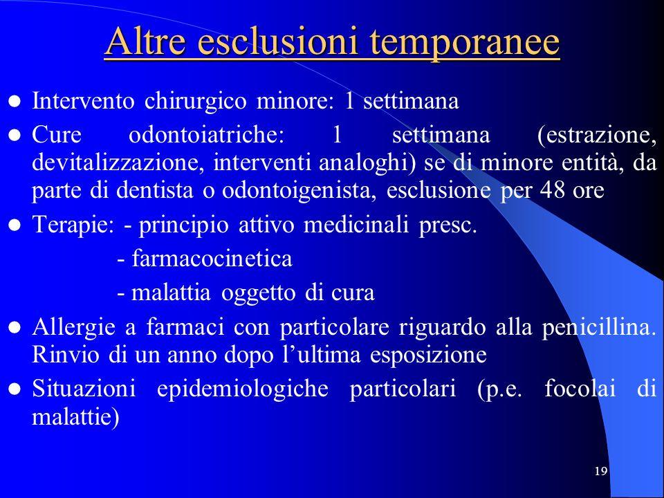 19 Altre esclusioni temporanee Intervento chirurgico minore: 1 settimana Cure odontoiatriche: 1 settimana (estrazione, devitalizzazione, interventi an