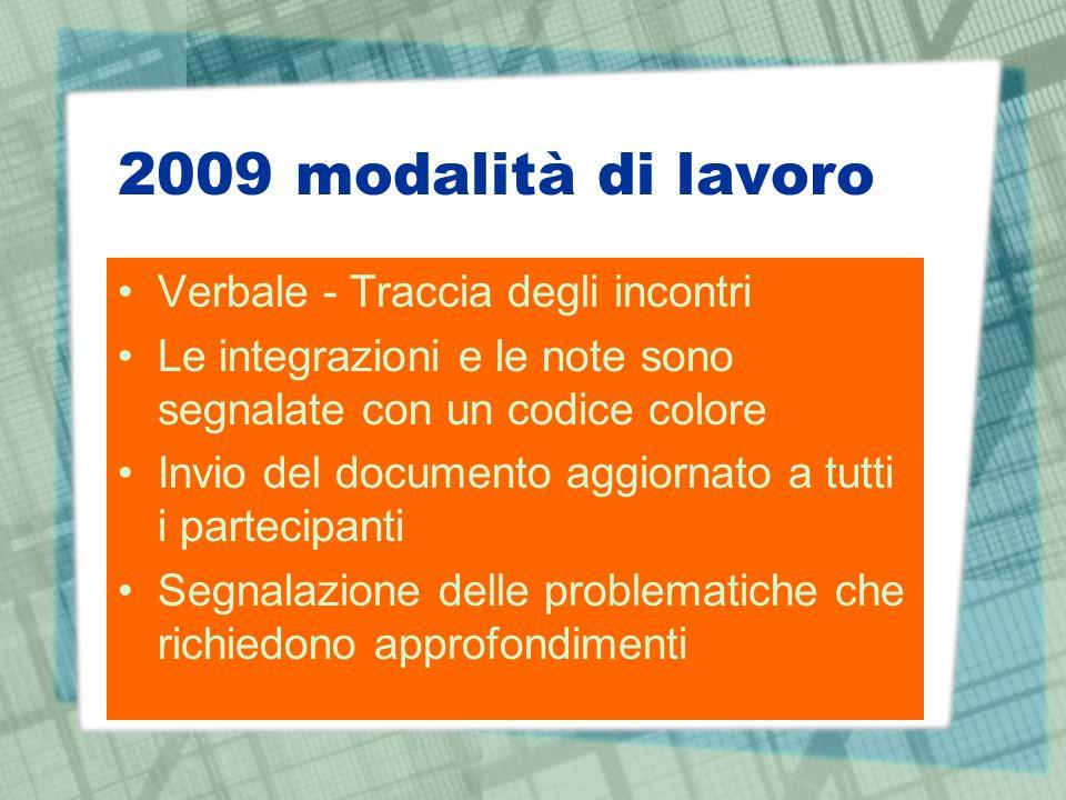 2009 modalità di lavoro Verbale - Traccia degli incontri Le integrazioni e le note sono segnalate con un codice colore Invio del documento aggiornato