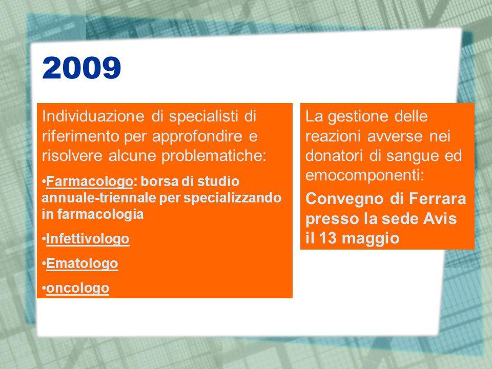 2009 La gestione delle reazioni avverse nei donatori di sangue ed emocomponenti: Convegno di Ferrara presso la sede Avis il 13 maggio Individuazione d