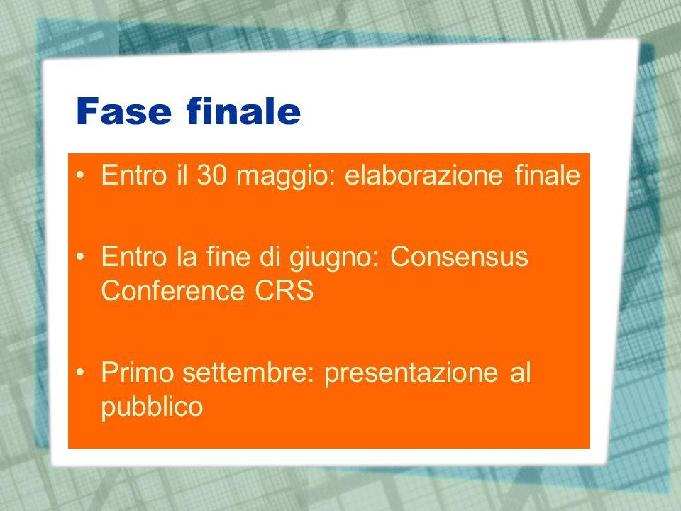 Fase finale Entro il 30 maggio: elaborazione finale Entro la fine di giugno: Consensus Conference CRS Primo settembre: presentazione al pubblico