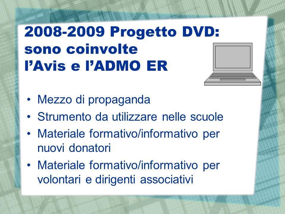 2008-2009 Progetto DVD: sono coinvolte lAvis e lADMO ER Mezzo di propaganda Strumento da utilizzare nelle scuole Materiale formativo/informativo per nuovi donatori Materiale formativo/informativo per volontari e dirigenti associativi