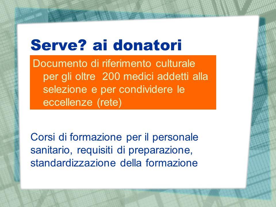 Serve? ai donatori Documento di riferimento culturale per gli oltre 200 medici addetti alla selezione e per condividere le eccellenze (rete) Corsi di