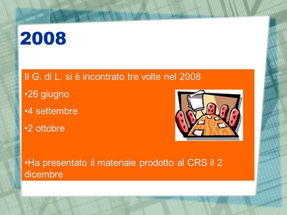 2008 Il G. di L. si è incontrato tre volte nel 2008 26 giugno 4 settembre 2 ottobre Ha presentato il materiale prodotto al CRS il 2 dicembre