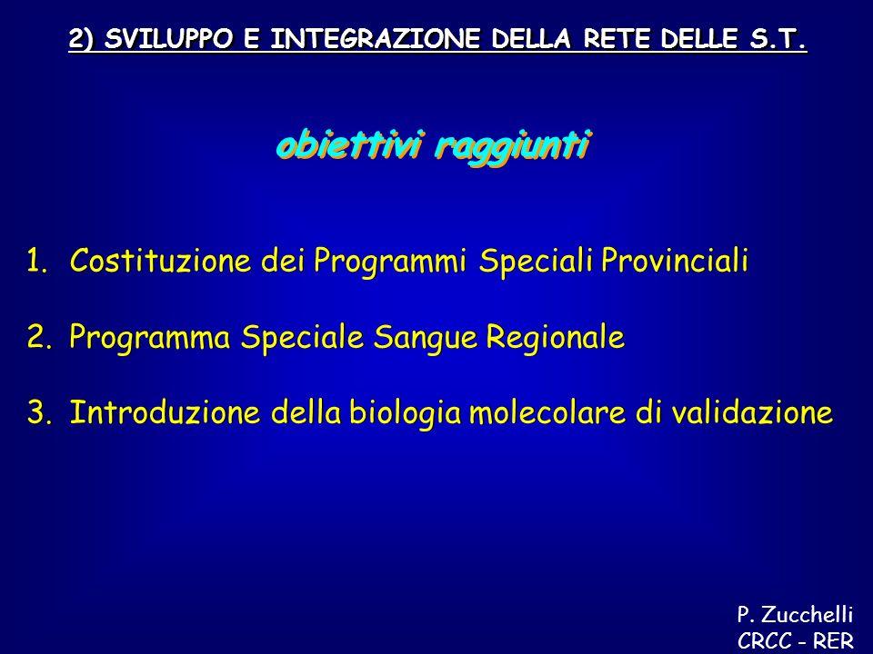 2) SVILUPPO E INTEGRAZIONE DELLA RETE DELLE S.T. obiettivi raggiunti 1.