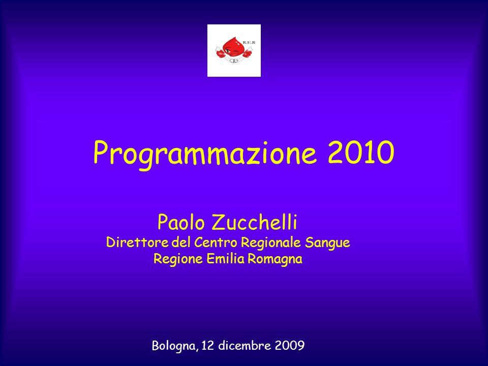 Programmazione 2010 Paolo Zucchelli Direttore del Centro Regionale Sangue Regione Emilia Romagna Bologna, 12 dicembre 2009