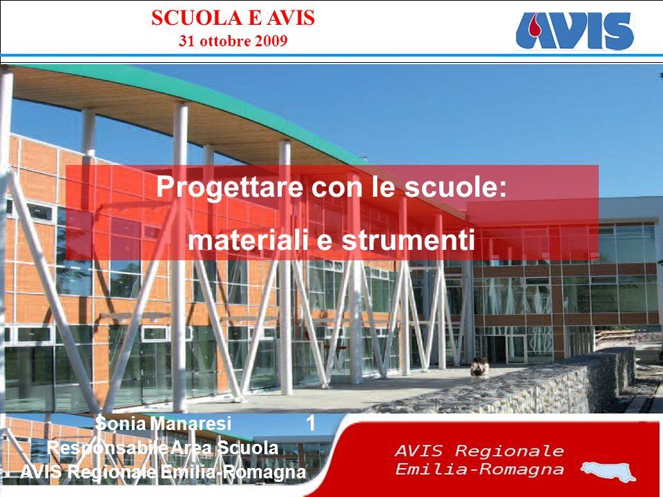 PPE SCUOLA E AVIS 31 ottobre 2009 1 Progettare con le scuole: materiali e strumenti Sonia Manaresi Responsabile Area Scuola AVIS Regionale Emilia-Romagna