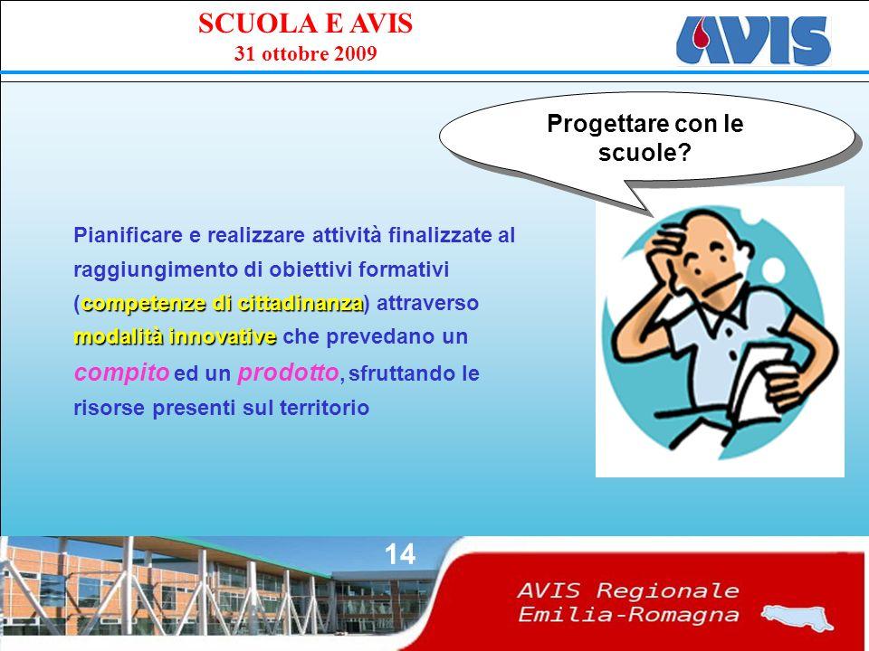 PPE SCUOLA E AVIS 31 ottobre 2009 14 Progettare con le scuole.